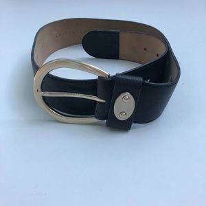 Ann Taylor Black Leather Belt Wide